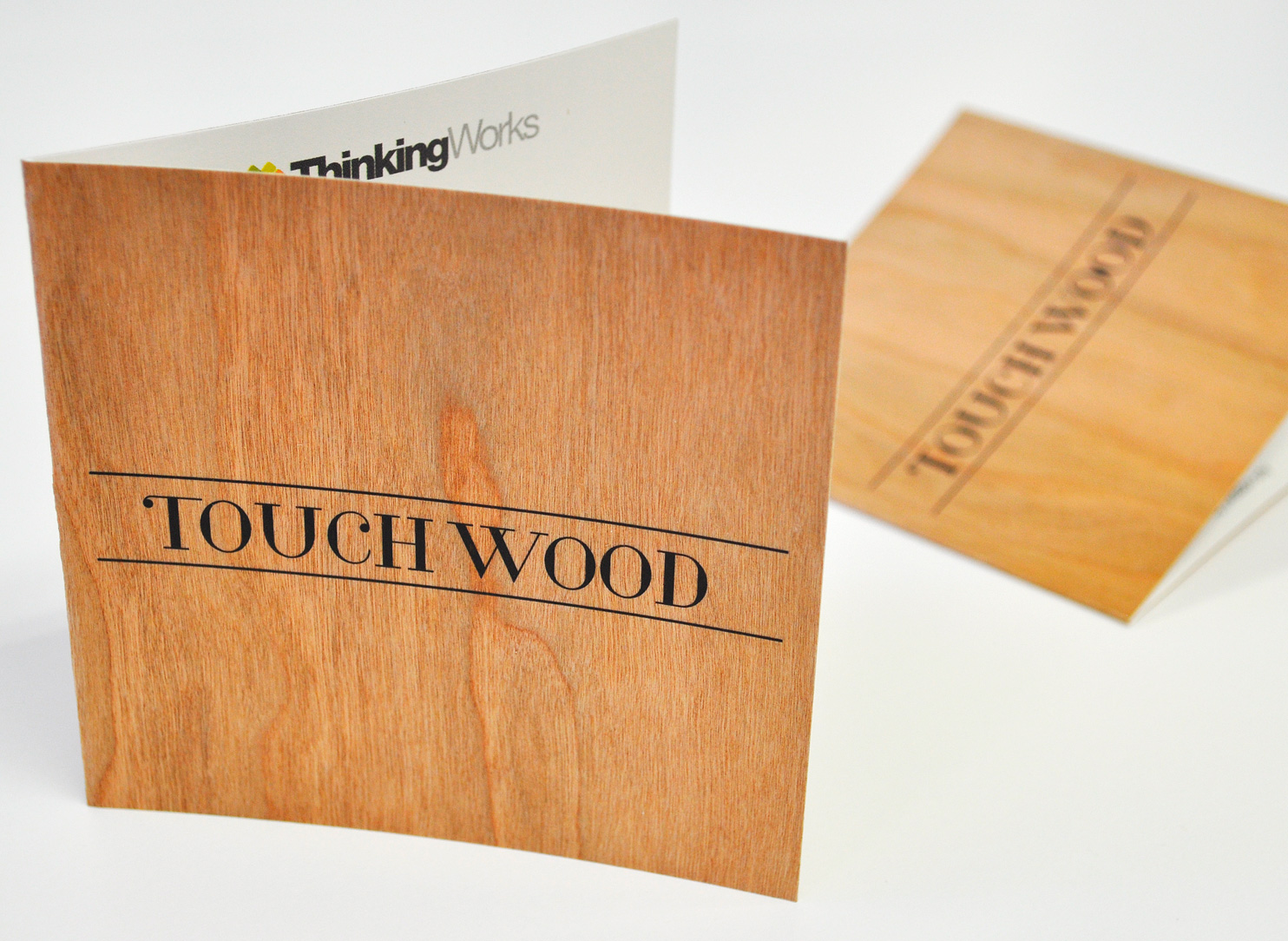 wood printed invitation