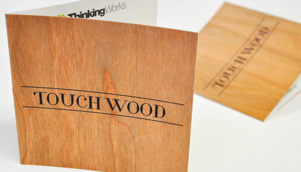 wood printed invitation